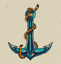 vintage colorful metal anchor vector image