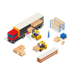 warehouse vehicular loading composition vector image
