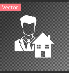 White realtor icon isolated on transparent vector