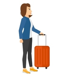 Woman standing with suitcase vector image