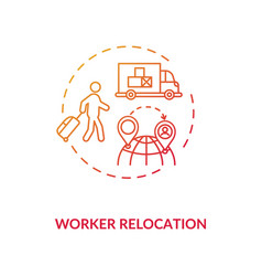Worker relocation red gradient concept icon vector