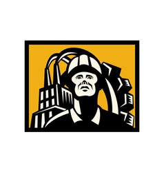 Worker with factory building and gear in back vector