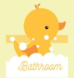 Yellow rubber duck toy foam bathroom vector