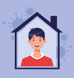 young man inside house with covid19 particles vector image