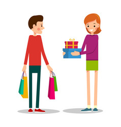 young man standing with shopping bags young girl vector image