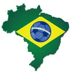 Brazil map and flag with soccer ball in the middle vector image vector image