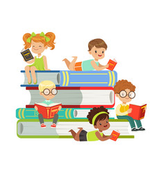 cute boys and girls sitting on a pile of books and vector image
