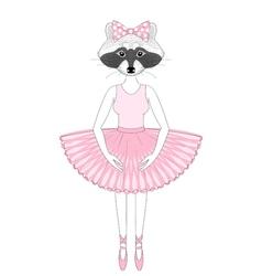 Cute raccoon girl in dress like ballerina hand vector
