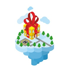 Flying residence of Santa Claus Building gift - vector image