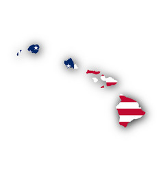map and flag of hawaii vector image
