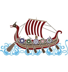 vikings boat colored vector image vector image