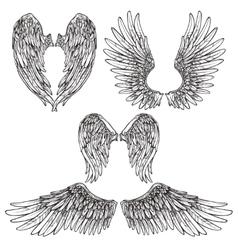 Wings sketch set vector