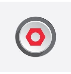 Bolt nut icon Screw symbol Red sign on round vector image vector image