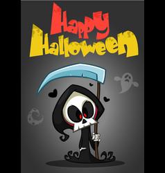 cartoon of spooky halloween death with scythe vector image vector image