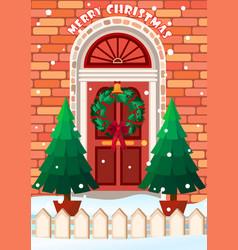 Door with wreath merry vector