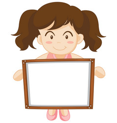 girl holding whiteboard in hands vector image