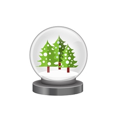 modern snow globe with pine trees vector image