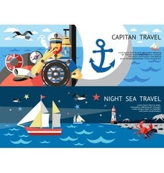 Nautical Concept Banner Set vector image