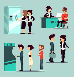 people in the bank banking service vector image