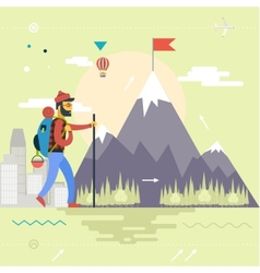Backpack Hiking Mountain Climber Symbol Travel vector image vector image