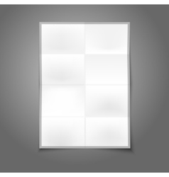 Blank white realistic folded poster with place for vector image vector image