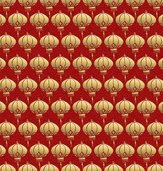 Chinese seamless pattern red lantern lamp gold vector image