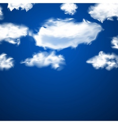 White fluffy clouds over blue vector image