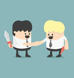 Businessman shaking hands while holding weapon vector image vector image