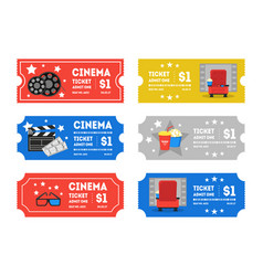 cartoon cinema tickets small set vector image