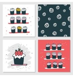 Cute cards Delicious food dessert Cupcake Birthday vector image