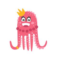 cute cartoon pink octopus princess character vector image vector image