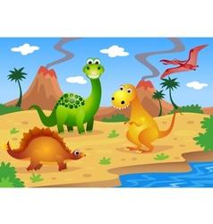 dinosaurs cartoon vector image vector image
