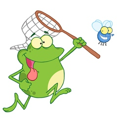 frog chasing fly with a net vector image vector image