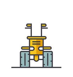 industrial machine tractor flat line vector image