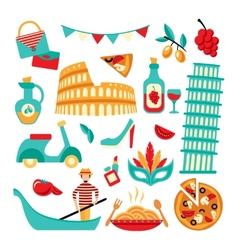 Italy decorative set vector image