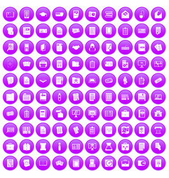 100 document icons set purple vector