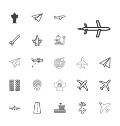 22 airplane icons vector