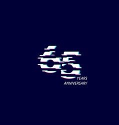 65 years anniversary celebration number template vector
