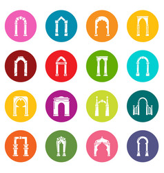 Arch types icons set colorful circles vector