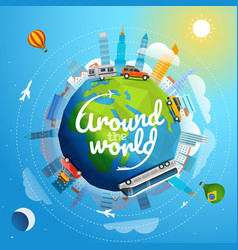 Around the world tour by different vehicle travel vector
