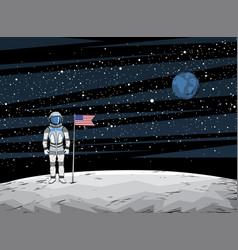 Astronaut with flag after on lunar surface vector