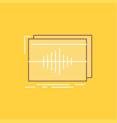 Audio frequency hertz sequence wave flat line vector