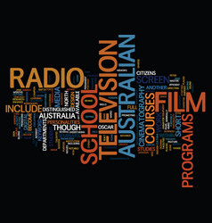 australian film text background word cloud concept vector image