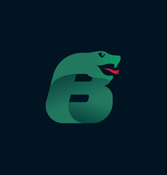 B letter logo with snake head silhouette vector