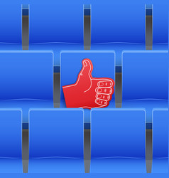 Background of stadium seats and fan foam finger vector