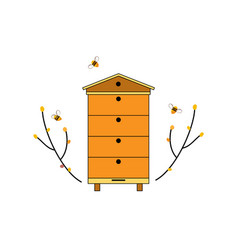 Beehive icon with bees and tree branches forest vector