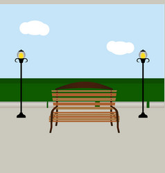 Bench and streetlight vector