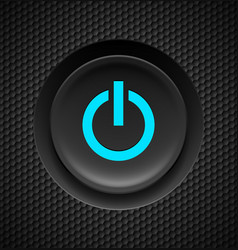 black button with blue power sign on carbon vector image