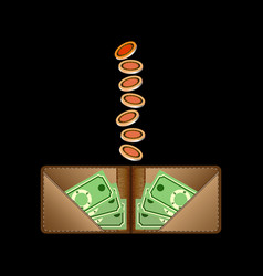 brown wallet with green paper money and coins vector image