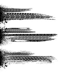 Brushed ink splash tire tracks vector